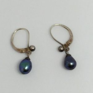 Black Pearl Sterling Silver Leverback Earrings